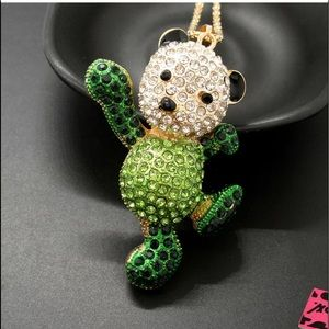NWT•Betsey Green dancing bear statement necklace
